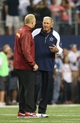Oct 13, 2013; Arlington, TX, USA; Dallas Cowboys defensive coordinator Monte Kiffin talks with Washington Redskins defensive coordinator Jim Haslett prior to the game at AT&T Stadium. Mandatory Credit: Matthew Emmons-USA TODAY Sports