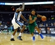 Oct 13, 2013; Memphis, TN, USA; Haifa guard Sherwood Brown (5) handles the ball against Memphis Grizzlies shooting guard Jamaal Franklin (22) during the second half at FedExForum. Memphis Grizzlies defeat Haifa 116-70. Mandatory Credit: Justin Ford-USA TODAY Sports