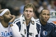 Oct 14, 2013; Dallas, TX, USA; Dallas Mavericks shooting guard Vince Carter (left) and power forward Dirk Nowitzki (center) and small forward Shawn Marion (0) finish the game on the bench during the second half against the Orlando Magic at American Airlines Center. The Magic defeated the Mavericks 102-94. Mandatory Credit: Jerome Miron-USA TODAY Sports