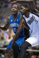Oct 14, 2013; Dallas, TX, USA; Orlando Magic center Mickell Gladness (40) and Dallas Mavericks center Bernard James (5) fight for position under the basket during the second half at American Airlines Center. The Magic defeated the Mavericks 102-94. Mandatory Credit: Jerome Miron-USA TODAY Sports