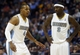 Oct 14, 2013; Denver, CO, USA; Denver Nuggets guards Randy Foye (4) and Ty Lawson (3) during the second half against the San Antonio Spurs at Pepsi Center. The Nuggets won 98-94. Mandatory Credit: Chris Humphreys-USA TODAY Sports