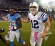 Oct 14, 2013; San Diego, CA, USA; San Diego Chargers cornerback Shareece Wright (29) and Indianapolis Colts quarterback Andrew Luck (12) walk off the field after the game at Qualcomm Stadium. The Chargers defeated the Colts 19-9. Mandatory Credit: Kirby Lee-USA TODAY Sports
