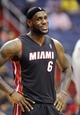 Oct 15, 2013; Washington, DC, USA; Miami Heat small forward LeBron James (6) smiles against the Washington Wizards during the first half at the Verizon Center. Mandatory Credit: Brad Mills-USA TODAY Sports