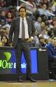 Oct 15, 2013; Washington, DC, USA; Miami Heat head coach Erik Spoelstra on the bench against the Washington Wizards during the first half at the Verizon Center. Mandatory Credit: Brad Mills-USA TODAY Sports