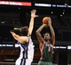 Oct 15, 2013; Memphis, TN, USA; Milwaukee Bucks center Larry Sanders (8) takes a jump shot during the fourth quarter against Memphis Grizzlies at FedExForum. Memphis Grizzlies defeat Milwaukee Bucks 102 - 99 Mandatory Credit: Justin Ford-USA TODAY Sports