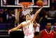Oct 15, 2013; Phoenix, AZ, USA; Phoenix Suns guard Goran Dragic attempts a layup against the Los Angeles Clippers at US Airways Center. Mandatory Credit: Mark J. Rebilas-USA TODAY Sports