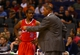 Oct 15, 2013; Phoenix, AZ, USA; Los Angeles Clippers guard Chris Paul (left) talks with head coach Doc Rivers against the Phoenix Suns at US Airways Center. Mandatory Credit: Mark J. Rebilas-USA TODAY Sports