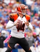 Oct 13, 2013; Orchard Park, NY, USA; Cincinnati Bengals quarterback Andy Dalton (14) during the second half against the Buffalo Bills at Ralph Wilson Stadium. Bengals beat the Bills 27-24 in overtime. Mandatory Credit: Kevin Hoffman-USA TODAY Sports