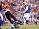 Oct 13, 2013; Orchard Park, NY, USA; Buffalo Bills kicker Dan Carpenter (2) kicks during the second half against the Cincinnati Bengals at Ralph Wilson Stadium. Mandatory Credit: Kevin Hoffman-USA TODAY Sports