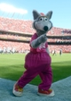 Oct 13, 2013; Kansas City, MO, USA; Kansas City Chiefs mascot KC Wolf performs for the crowd during the second half of the game against the Oakland Raiders at Arrowhead Stadium. The Chiefs won 24-7. Mandatory Credit: Denny Medley-USA TODAY Sports