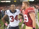 Oct 6, 2013; San Francisco, CA, USA; Houston Texans cornerback A.J. Bouye (34) and San Francisco 49ers fullback Bruce Miller (49) after the game between the Houston Texans and San Francisco 49ers at Candlestick Park. Mandatory Credit: Ed Szczepanski-USA TODAY Sports