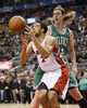 Oct 16, 2013; Toronto, Ontario, CAN; Boston Celtics forward Kelly Olynyk (41) knocks the ball away from Toronto Raptors forward Landry Fields (2) at Air Canada Centre. Toronto defeated Boston 99-97. Mandatory Credit: John E. Sokolowski-USA TODAY Sports
