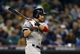 Oct 16, 2013; Detroit, MI, USA;  Boston Red Sox center fielder Jacoby Ellsbury (2) hits an RBI triple against the Detroit Tigers during the ninth inning in game four of the American League Championship Series baseball game at Comerica Park. Mandatory Credit: Rick Osentoski-USA TODAY Sports