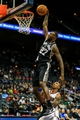 Oct 17, 2013; Atlanta, GA, USA; San Antonio Spurs point guard Courtney Fells (27) dunks in the second half against the Atlanta Hawks at Philips Arena. The Spurs won 106-104. Mandatory Credit: Daniel Shirey-USA TODAY Sports