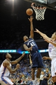 Oct 17, 2013; Tulsa, OK, USA; New Orleans Pelicans small forward Lance Thomas (42) attempts a shot against Oklahoma City Thunder center Steven Adams (12) and small forward Perry Jones (3) during the third quarterat BOK Center. Mandatory Credit: Mark D. Smith-USA TODAY Sports