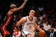 Oct 17, 2013; Brooklyn, NY, USA; Brooklyn Nets power forward Mason Plumlee (1) drives to the net during the fourth quarter against the Miami Heat at Barclays Center. Brooklyn won 86-62.  Mandatory Credit: Anthony Gruppuso-USA TODAY Sports