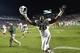 Oct 17, 2013; Chapel Hill, NC, USA; Miami Hurricanes defensive lineman Justin Renfrow (78) celebrates after the game. The Miami Hurricanes defeated the North Carolina Tar Heels 27-23 at Kenan Memorial Stadium. Mandatory Credit: Bob Donnan-USA TODAY Sports