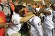 Oct 17, 2013; Chapel Hill, NC, USA; Miami Hurricanes quarterback Stephen Morris (17) celebrates with fans after the game. The Miami Hurricanes defeated the North Carolina Tar Heels 27-23 at Kenan Memorial Stadium. Mandatory Credit: Bob Donnan-USA TODAY Sports