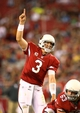 Oct 17, 2013; Phoenix, AZ, USA; Arizona Cardinals quarterback Carson Palmer calls a play in the second half against the Seattle Seahawks at University of Phoenix Stadium. Mandatory Credit: Mark J. Rebilas-USA TODAY Sports
