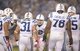 Oct 14, 2013; San Diego, CA, USA; Indianapolis Colts quarterback Andrew Luck (12) huddles with teammates Stanley Havili (39), Donald Brown (31), Gosder Cherilus (78) and Mike McGlynn (75) during the game against the San Diego Chargers at Qualcomm Stadium. The Chargers defeated the Colts 19-9. Mandatory Credit: Kirby Lee-USA TODAY Sports