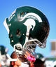 Oct 12, 2013; East Lansing, MI, USA; General view of Michigan State Spartans helmet after a game against the Indiana Hoosiers at Spartan Stadium. Mandatory Credit: Mike Carter-USA TODAY Sports