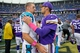 Oct 13, 2013; Minneapolis, MN, USA; Carolina Panthers quarterback Derek Anderson (3) talks with Minnesota Vikings quarterback Matt Cassel (16) after the game at Mall of America Field at H.H.H. Metrodome. Panthers win 35-10. Mandatory Credit: Bruce Kluckhohn-USA TODAY Sports
