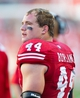 Oct 12, 2013; Madison, WI, USA; Wisconsin Badgers linebacker Chris Borland (44) during the game against the Northwestern Wildcats at Camp Randall Stadium.  Wisconsin won 35-6.  Mandatory Credit: Jeff Hanisch-USA TODAY Sports