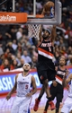 Oct 18, 2013; Los Angeles, CA, USA; Portland Trail Blazers shooting guard Will Barton (5) dunks the ball in front of Los Angeles Clippers shooting guard Jared Dudley (9) in the second half of the game at the Staples Center. Mandatory Credit: Jayne Kamin-Oncea-USA TODAY Sports