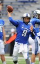 Oct 19, 2013; Memphis, TN, USA; Memphis Tigers quarterback Jacob Karam (9) warms up before the game against the Southern Methodist Mustangs at Liberty Bowl Memorial. Mandatory Credit: Justin Ford-USA TODAY Sports