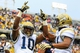 Oct 19, 2013; Atlanta, GA, USA; Georgia Tech Yellow Jackets running back Synjyn Days (10) celebrates a touchdown in the first half against Syracuse at Bobby Dodd Stadium. Mandatory Credit: Daniel Shirey-USA TODAY Sports