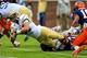 Oct 19, 2013; Atlanta, GA, USA; Georgia Tech Yellow Jackets running back Zach Laskey (37) scores a touchdown in the first half against Syracuse at Bobby Dodd Stadium. Mandatory Credit: Daniel Shirey-USA TODAY Sports