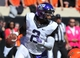Oct 19, 2013; Stillwater, OK, USA; Texas Christian Horned Frogs quarterback Trevone Boykin (2) rolls out under pressure against the Oklahoma State Cowboys during the first half at Boone Pickens Stadium. Oklahoma State won 24-10. Mandatory Credit: Peter G. Aiken-USA TODAY Sports