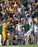 Oct 19, 2013; Laramie, WY, USA; Colorado State Rams safety Trent Matthews (16) makes an interception in front of Wyoming Cowboys wide receiver Dominic Rufran (33) during the second quarter at War Memorial Stadium.  The Rams defeated the Cowboys 52-22.   Mandatory Credit: Troy Babbitt-USA TODAY Sports