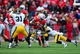 Oct 19, 2013; Columbus, OH, USA; Ohio State Buckeyes running back Carlos Hyde (34) runs the ball during the third quarter against the Iowa Hawkeyes at Ohio Stadium. Mandatory Credit: Andrew Weber-USA TODAY Sports