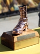 Oct 19, 2013; Laramie, WY, USA;  Bronze Boot Trophy as seen during the game between the Colorado State Rams and the Wyoming Cowboys at War Memorial Stadium. The Rams defeated the Cowboys 52-22.   Mandatory Credit: Troy Babbitt-USA TODAY Sports