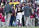 Oct 19, 2013; College Station, TX, USA; Texas A&M Aggies quarterback Johnny Manziel (2) leaves the field after being injured during the second half against the Auburn Tigers at Kyle Field. Mandatory Credit: Soobum Im-USA TODAY Sports