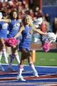 Oct 19, 2013; Lawrence, KS, USA; Kansas Jayhawks cheerleader perform in the second half during the game against the Oklahoma Sooners at Memorial Stadium. Oklahoma won the game 34-19. Mandatory Credit: John Rieger-USA TODAY Sports