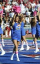 Oct 19, 2013; Lawrence, KS, USA; Kansas Jayhawks cheerleader perform in the second half against the Oklahoma Sooners at Memorial Stadium. Oklahoma won the game 34-19. Mandatory Credit: John Rieger-USA TODAY Sports