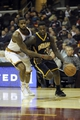 Oct 19, 2013; Cleveland, OH, USA; Indiana Pacers guard Lance Stephenson (1) drives on Cleveland Cavaliers forward Earl Clark (6) during the third quarter at Quicken Loans Arena. Mandatory Credit: Ken Blaze-USA TODAY Sports