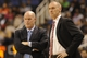 Oct 19, 2013; Greensboro, NC, USA; Charlotte Bobcats head coach Steve Clifford (left) and Dallas Mavericks head coach Rick Carlisle (right) talk during the game at Greensboro Coliseum. The Mavericks won 89-83. Mandatory Credit: Sam Sharpe-USA TODAY Sports