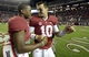 Oct 19, 2013; Tuscaloosa, AL, USA; Alabama Crimson Tide quarterback Blake Sims (6) greets quarterback A.J. McCarron (10) following their 52-0 victory over the Arkansas Razorbacks at Bryant-Denny Stadium. Mandatory Credit: John David Mercer-USA TODAY Sports