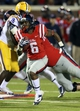 Oct 19, 2013; Oxford, MS, USA; Mississippi Rebels running back Jaylen Walton (6) advances the ball during the game against the LSU Tigers at Vaught-Hemingway Stadium. Mississippi Rebels defeat the LSU Tigers 27-24.  Mandatory Credit: Spruce Derden-USA TODAY Sports
