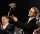 Oct 19, 2013; Boston, MA, USA; Boston Red Sox general manager John Henry holds the American League championship trophy after defeating the Detroit Tigers in game six of the American League Championship Series playoff baseball game at Fenway Park. Mandatory Credit: Robert Deutsch-USA TODAY Sports
