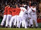 Oct 19, 2013; Boston, MA, USA; Members of the Boston Red Sox celebrate on the field after defeating the Detroit Tigers in game six of the American League Championship Series playoff baseball game at Fenway Park. Mandatory Credit: Robert Deutsch-USA TODAY Sports