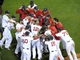 Oct 19, 2013; Boston, MA, USA; Members of the Boston Red Sox celebrate on the field after defeating the Detroit Tigers to win the American League pennant in game six of the American League Championship Series baseball game at Fenway Park. Mandatory Credit: Bob DeChiara-USA TODAY Sports