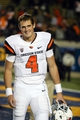 Oct 19, 2013; Berkeley, CA, USA; Oregon State Beavers quarterback Sean Mannion (4) after the game against the California Golden Bears at Memorial Stadium. The Oregon State Beavers defeated the California Golden Bears 49-17. Mandatory Credit: Kelley L Cox-USA TODAY Sports