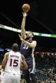 Oct 20, 2013; Atlanta, GA, USA; Memphis Grizzlies center Marc Gasol (33) shoots the ball against the Atlanta Hawks in the first quarter at Philips Arena. Mandatory Credit: Brett Davis-USA TODAY Sports