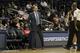 Oct 10, 2013; Atlanta, GA, USA; Atlanta Hawks head coach Mike Budenholzer talks to a referee against the Memphis Grizzlies in the third quarter at Philips Arena. Mandatory Credit: Brett Davis-USA TODAY Sports