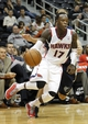 Oct 10, 2013; Atlanta, GA, USA; Atlanta Hawks point guard Dennis Schroder (17) drives to the basket against the Memphis Grizzlies in the third quarter at Philips Arena. Mandatory Credit: Brett Davis-USA TODAY Sports