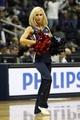 Oct 10, 2013; Atlanta, GA, USA; Atlanta Hawks cheerleader performs against the Memphis Grizzlies in the fourth quarter at Philips Arena. Mandatory Credit: Brett Davis-USA TODAY Sports